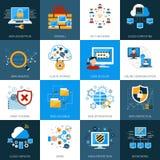 Iconos de la seguridad de la red fijados Foto de archivo libre de regalías