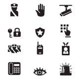 Iconos de la seguridad de la silueta fijados Fotografía de archivo libre de regalías