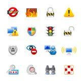 Iconos de la seguridad del Internet Fotos de archivo libres de regalías