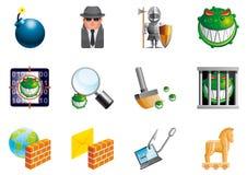 Iconos de la seguridad del Internet Imagen de archivo libre de regalías