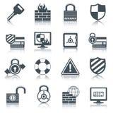 Iconos de la seguridad fijados negros Imagen de archivo