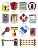 Iconos de la seguridad y del asunto Fotografía de archivo
