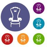 Iconos de la silla del trono del rey fijados Imagenes de archivo