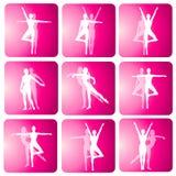 Iconos de la silueta de la danza de la yoga de la aptitud Fotografía de archivo libre de regalías