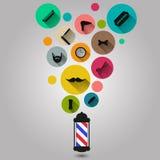 Iconos de la silueta de las herramientas de la peluquería de caballeros del vintage fijados Fotos de archivo libres de regalías