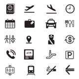 Iconos de la silueta del aeropuerto fijados Fotos de archivo libres de regalías
