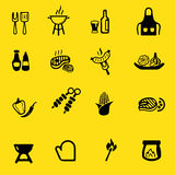 Iconos de la silueta del amarillo de la parrilla de la barbacoa Fotografía de archivo