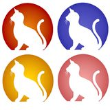 Iconos de la silueta del gato que se sientan Imágenes de archivo libres de regalías