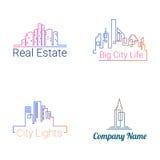 Iconos de la silueta del logotipo de los edificios de la ciudad Vector Imagenes de archivo
