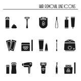 Iconos de la silueta de los métodos del retiro del pelo fijados El afeitar azucarando el laser que encera extraer con pinzas de l stock de ilustración