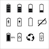Iconos de la situación de la batería fijados Imagen de archivo