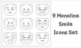 9 iconos de la sonrisa de Monoline fijados Foto de archivo