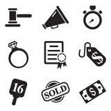Iconos de la subasta Imagenes de archivo