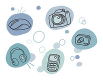 Iconos de la técnica de la historieta Fotos de archivo libres de regalías