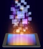 Iconos de la tableta y del ordenador en los cuadrados en lados Imagenes de archivo