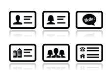 Iconos de la tarjeta de visita fijados Fotografía de archivo
