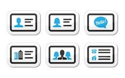 Iconos de la tarjeta de visita fijados Imagen de archivo