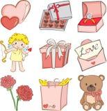 Iconos de la tarjeta del día de San Valentín Fotos de archivo