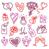 Iconos de la tarjeta del día de San Valentín Foto de archivo libre de regalías