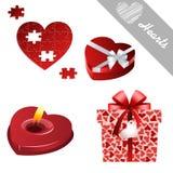 Iconos de la tarjeta del día de San Valentín de los corazones Fotografía de archivo libre de regalías