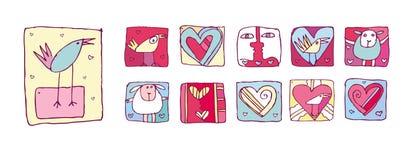 Iconos de la tarjeta del día de San Valentín fijados Fotografía de archivo libre de regalías