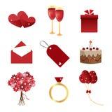 Iconos de la tarjeta del día de San Valentín Fotografía de archivo libre de regalías
