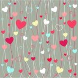 Iconos de la tarjeta del día de San Valentín de los corazones Foto de archivo
