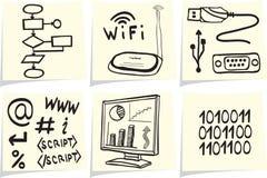 Iconos de la tecnología de la información en los palillos amarillos de la nota Imágenes de archivo libres de regalías