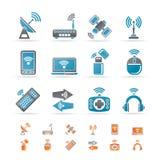 Iconos de la tecnología de la radio y de comunicación ilustración del vector