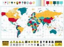 Iconos de la tecnología del mapa del mundo y de la energía atómica con la contaminación Imagen de archivo libre de regalías