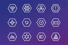 Iconos de la tecnología del vector UI del esquema fijados Foto de archivo