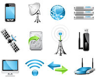 Iconos de la tecnología inalámbrica ilustración del vector