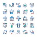Iconos de la tecnolog?a de la nube stock de ilustración