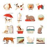 Iconos de la tienda de animales fijados stock de ilustración