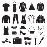 Iconos de la tienda de ropa fijados foto de archivo
