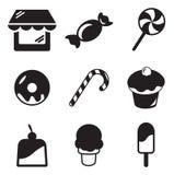 Iconos de la tienda del caramelo Fotos de archivo