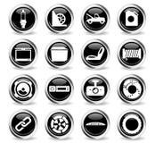 Iconos de la tienda del coche fijados stock de ilustración