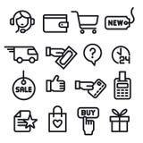 Iconos de la tienda del comercio electrónico stock de ilustración