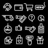 Iconos de la tienda del comercio electr?nico stock de ilustración