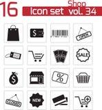 Iconos de la tienda del negro del vector Stock de ilustración