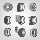Iconos de la tienda del neumático Imágenes de archivo libres de regalías