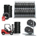 Iconos de la tienda del neumático del vector stock de ilustración