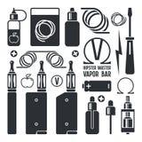 Iconos de la tienda y del e-cigarrillo de Vape Foto de archivo