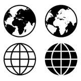 Iconos de la tierra del globo fotografía de archivo