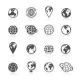 Iconos de la tierra del globo stock de ilustración
