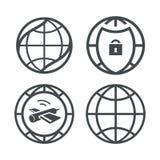 Iconos de la tierra del globo fijados Fotografía de archivo