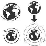 Iconos de la tierra fijados en el fondo blanco ilustración del vector