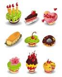 Iconos de la torta de la historieta fijados Foto de archivo libre de regalías
