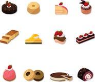 Iconos de la torta de la historieta fijados Fotografía de archivo libre de regalías