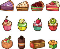 Iconos de la torta de la historieta fijados Fotos de archivo